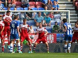Wigan's Jordi Gomez scores the equaliser against Middlesbrough on August 25, 2013