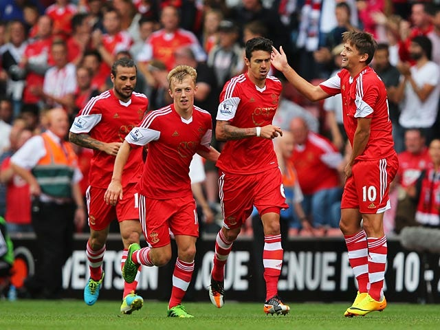 Southampton's Jose Fonte is congratulated by team mates after scoring the equaliser against Sunderland on August 24, 2013
