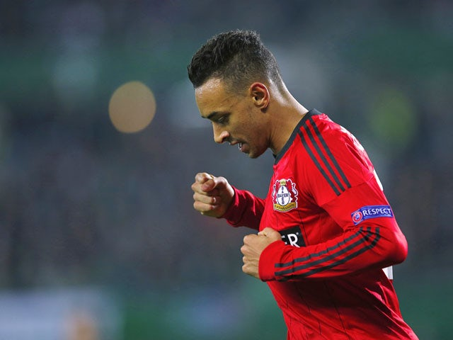 Leverkusen's striker Karim Bellarabi celebrates after scoring during the UEFA Europa League Group K football match Rapid Wien vs Bayer Leverkusen in Vienna, Austria on October 25, 2012.
