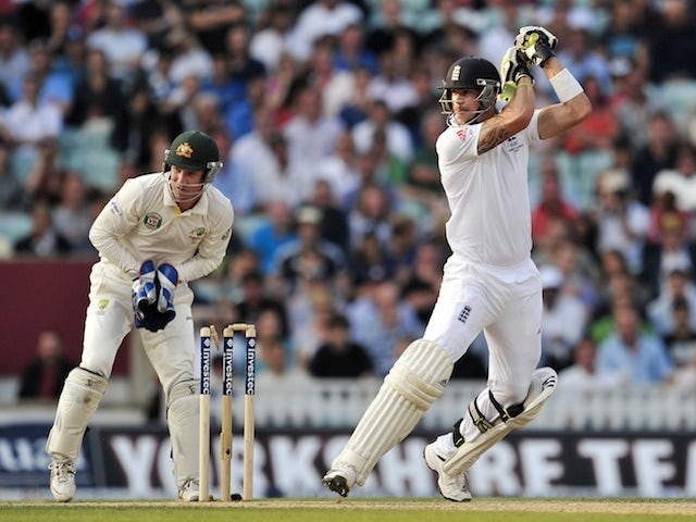 England's Kevin Pietersen at the crease during the fifth Ashes test on August 25, 2013