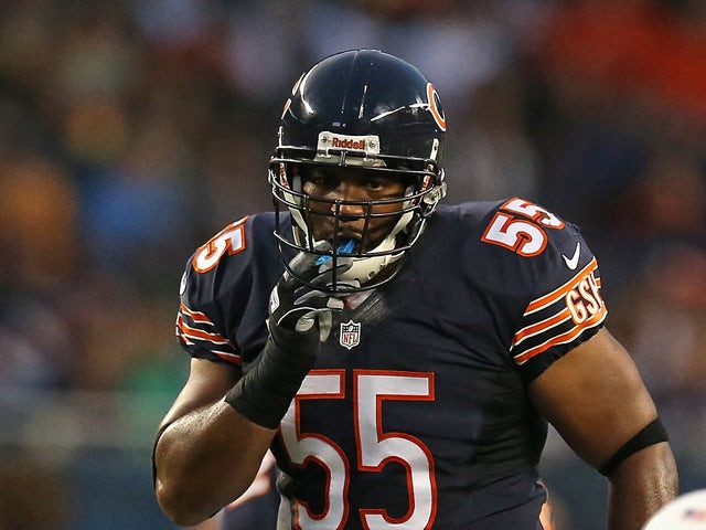 Chicago Bears' Lance Briggs in action during the game against San Diego Chargers on August 15, 2013