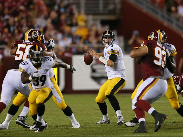 Quarterback Landry Jones #3 of the Pittsburgh Steelers drops back to pass against the Washington Redskins during the second half of a preseason game at FedExField on August 19, 2013