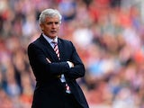 Stoke manager Mark Hughes on the touchline during the match against Crystal Palace on August 24, 2013