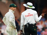 Australia captain Michael Clarke argues with the umpire during the fifth Ashes test on August 25, 2013