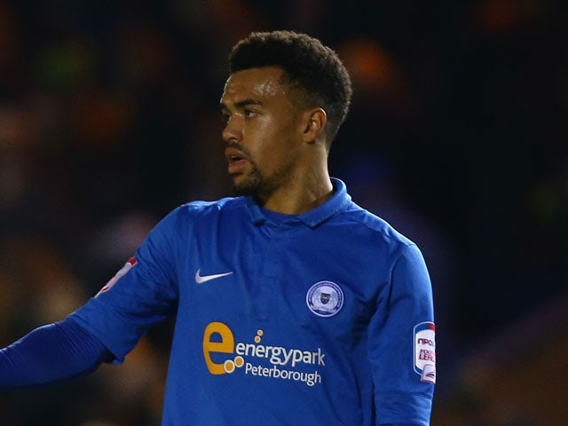 Nicky Ajose of Peterborough United during the FA Cup with Budweiser third round match between Peterborough United and Norwich City at London Road Stadium on January 5, 2013