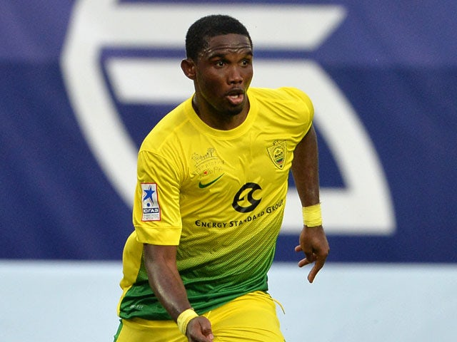 Samuel Eto'o of FC Anzhi Makhachkala in action during the Russian Premier League match between FC Dinamo Moscow and FC Anzhi Makhachkala at the Arena Khimki Stadium on July 19, 2013