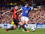 West Brom's Shane Long and Everton's Leighton Baines battle for the ball on August 24, 2013