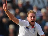 England's Stuart Broad celebrates taking another wicket during the fourth Ashes Test with Australia on August 12, 2013