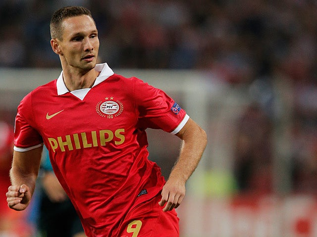 PSV's Tim Matavz in action during the Champions League match against AC Milan on August 20, 2013
