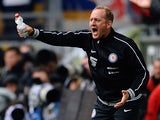 Eintracht Braunschweig head coach Torsten Lieberknecht gestures on the touchline during the match against Borussia Dortmund on August 18, 2013