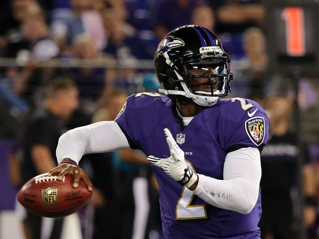 Quarterback Tyrod Taylor #2 of the Baltimore Ravens drops back to pass against the Atlanta Falcons during a preseason game at M&T Bank Stadium on August 15, 2013