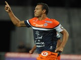 Montpellier's Vitorino Hilton celebrates a goal against Sochaux on August 24, 2013