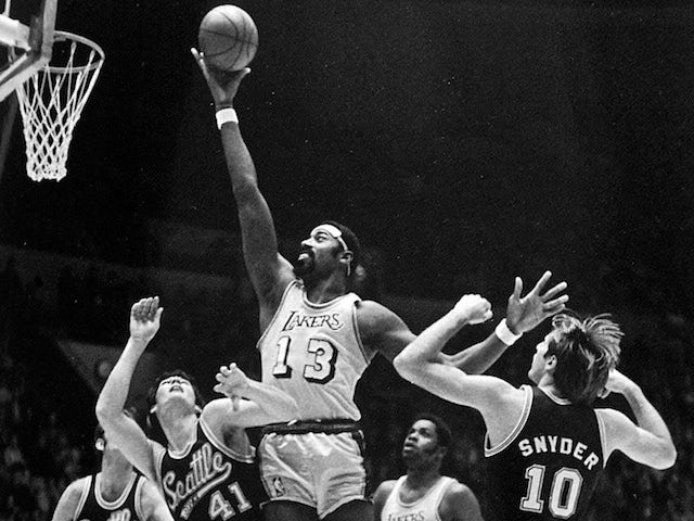 Legendary NBA center Wilt Chamberlain playing for the LA Lakers on November 22, 1970