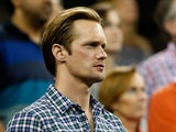 Actor Alexander Skarsgård watches play between Rafael Nadal of Spain and Andrey Golubev of Kazakhstan during Day Two of the 2011 U.S. Open at the USTA Billie Jean King National Tennis Center on August 30, 2011