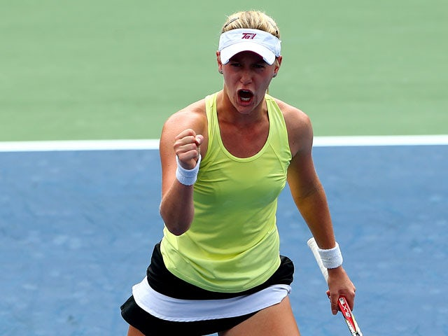 Alison Riske of the United States celebrates a set point during her women's singles third round match against Petra Kvitova of the Czech Republic on Day Six of the 2013 US Open at USTA Billie Jean King National Tennis Center on August 31, 2013