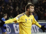 Andriy Yarmolenko of Ukraine celebrates after scoring during a World Cup 2014 qualifying football match Ukraine vs Moldova in Odessa on March 26, 2013