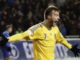Andriy Yarmolenko of Ukraine celebrates after scoring during a World Cup 2014 qualifying football match Ukraine vs Moldova in Odessa on March 26, 2013