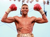 Anthony Ogogo celebrates a win over Gary Boulden after their Middleweight bout at Craven Park Stadium on July 13, 2013