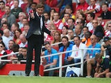 Andre Villas-Boas of Tottenham Hotspur gesticulates during the Barclays Premier League match between Arsenal and Tottenham Hotspur at Emirates Stadium on September 01, 2013