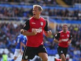Christophe Berra of Ipswich Town celebrates his goal during the Sky Bet Championship match between Birmingham City and Ipswich Town at St Andrews Stadium on August 31, 2013