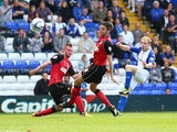 Chris Burke of Birmingham City scores during the Sky Bet Championship match between Birmingham City and Ipswich Town at St Andrews Stadium on August 31, 2013