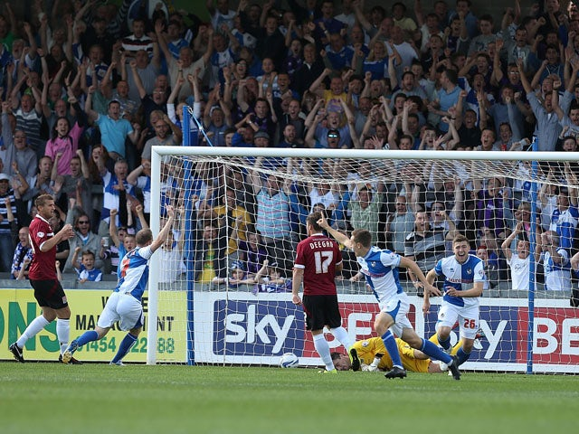 Tom Lockyer of Bristol Rovers celebrates after scoring his sides 1st goal during the Sky Bet League Two match between Bristol Rovers and Northampton Town at Memorial Stadium on August 31, 2013