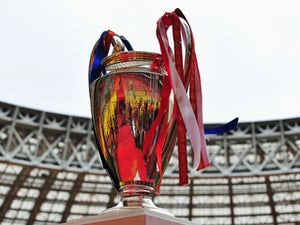 A general shot of the Champions League trophy.