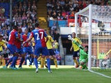 Danny Gabbidon of Crystal Palace scores the opening goal past goalkeeper Keiren Westwood of Sunderland during the Barclays Premier League match between Crystal Palace and Sunderland at Selhurst Park on August 31, 2013