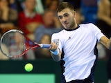 Dan Evans in action for the British Davis Cup team.