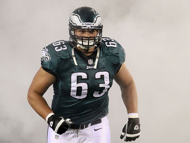 Guard Danny Watkins #63 of the Philadelphia Eagles before a game against the New York Giants at Lincoln Financial Field on September 30, 2012