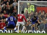 Darren Fletcher loops a header into the net against Chelsea.