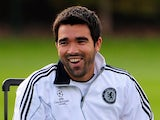 Deco, when at Chelsea, relaxes during training on October 20, 2009