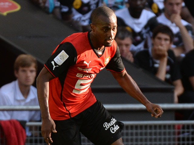 Rennes' French defender Dimitri Foulquier runs with the ball during the French L1 friendly football match Rennes against Guingamp on August 3, 2013