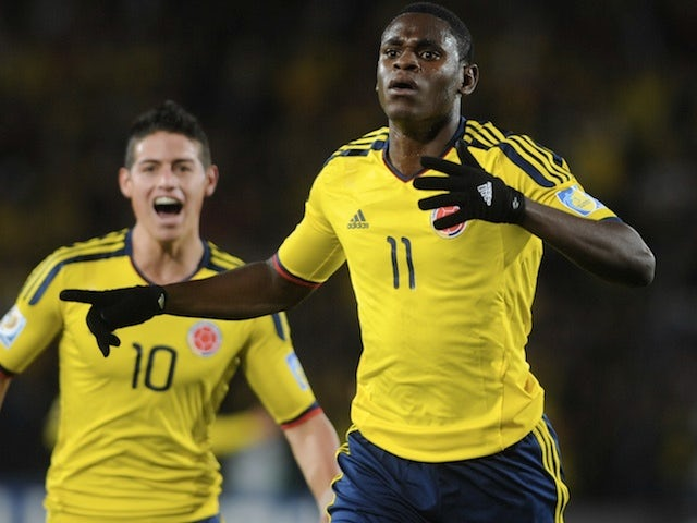Colombia's Duvan Zapata celebrates a goal against Mexico on August 13, 2011