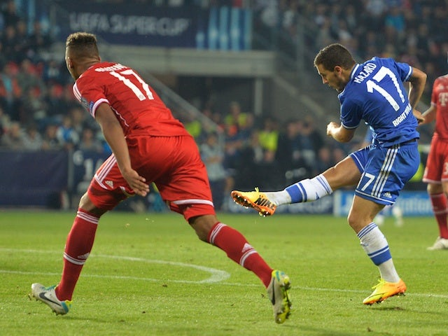 Chelsea's Eden Hazard puts his side 2-1 up against Bayern Munich in the UEFA Super Cup Final on August 30, 2013