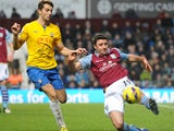 Aston Villa full-back Enda Stevens clears the ball in a Premier League match against Southampton on January 12, 2013