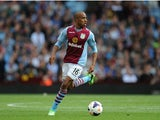 Aston Villa player Fabian Delph in action during the Barclays Premier League match between Aston Villa and Liverpool at Villa Park on August 24, 2013
