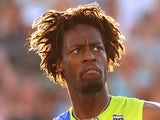 Gael Monfils of France looks on in his third round match against Mikhail Kukushkin at the Australian Open on January 21, 2012