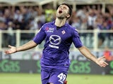 Fiorentina's Giuseppe Rossi celebrates a goal against Catania on August 26, 2013