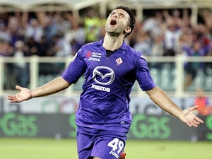 Fiorentina's Giuseppe Rossi celebrates a goal against Catania on August 26, 2013