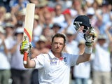 Ian Bell celebrates his century at Trent Bridge.