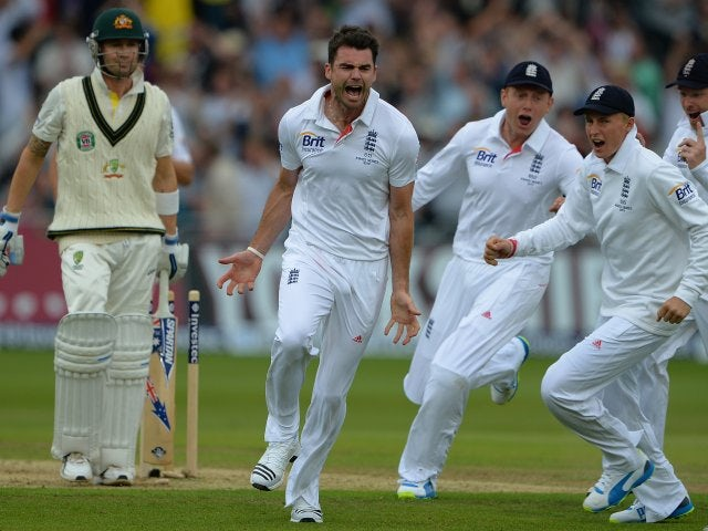 James Anderson celebrates taking the wicket of Michael Clarke.