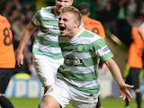Celtic's James Forrest celebrates his last-gasp winner against Shakhtar Karagandy on August 28, 2013