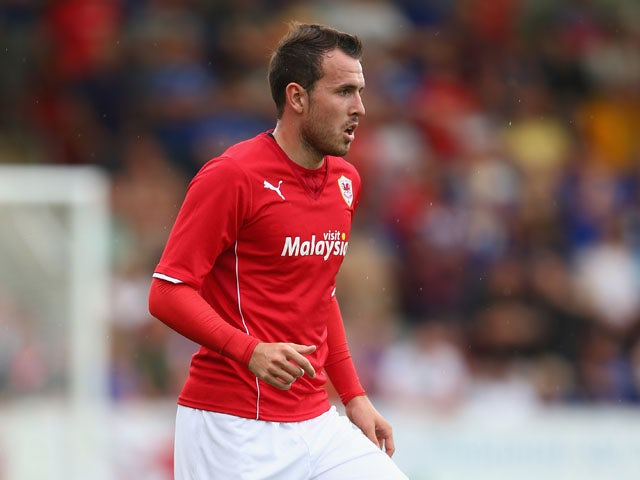 Jordon Mutch of Cardiff City during the Pre Season match between Cheltenham Town and Cardiff City at the Abbey Business Stadium on July 27, 2013