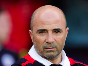Jorge Sampaoli of Chile looks on during the international friendly match between Chile and Iraq at the Brondby Stadium on August 14, 2013