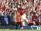 Jose Antonio Reyes celebrates scoring for Arsenal against Middlesbrough at Highbury on August 22, 2004