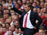 Liverpool Manager Brendan Rodgers gestures during the Barclays Premier League match between Liverpool and Manchester United at Anfield on September 01, 2013