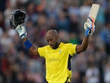 Michael Carberry of Hampshire celebrates after reaching his century during the Friends Life T20 Quarter Final between Hampshire Royals and Lancashire Lightning at Ageas Bowl on August 7, 2013