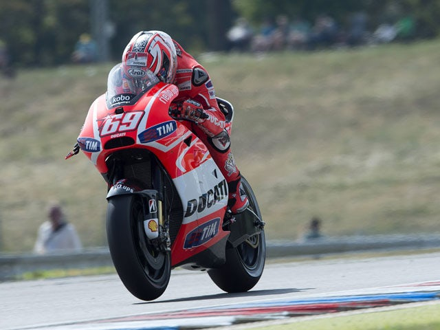 Nicky Hayden of USA and Ducati Marlboro Team heads down a straight during the MotoGp of Czech Republic - Free Practice at Brno Circuit on August 23, 2013