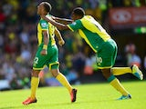 Nathan Redmond of Norwich City celebrates his goal during the Barclays Premier League match between Norwich City and Southampton at Carrow Road on August 31, 2013
